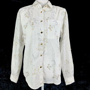 Vintage Blouse Tapestry Small Button Up Floral